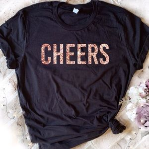 Tops - Cheers black tee rose gold glitter graphic t-shirt